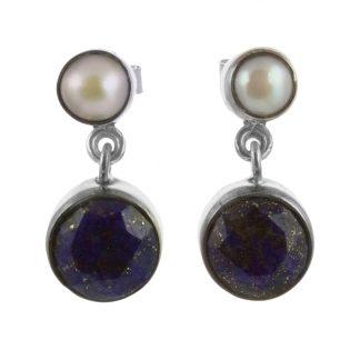 Сребърни обеци с фасетиран лазурит и перла