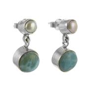 Сребърни обеци с ларимар и перла