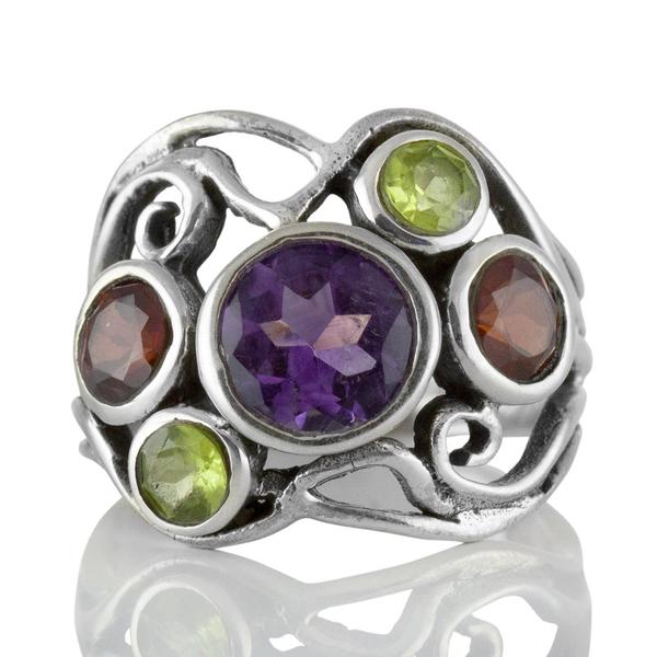 Сребърен пръстен с аметист, перидот и гранат
