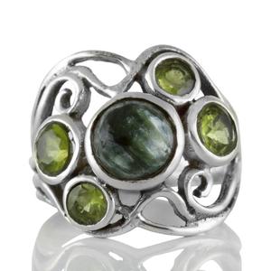 Сребърен пръстен със серафинит и перидоти