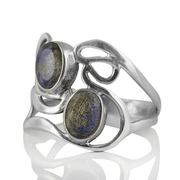 Сребърен пръстен с фасетирани лабрадорити