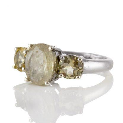 Сребърен пръстен с фасетиран рутилов кварц и цитрини