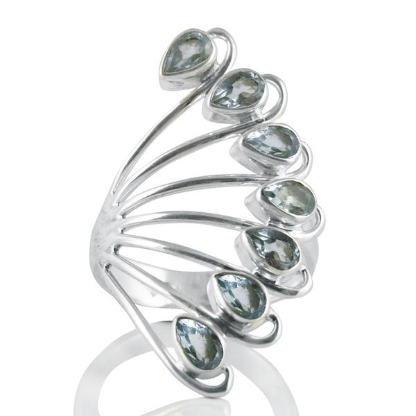 Сребърен пръстен със сини топази