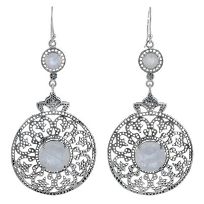 Големи сребърни обеци с лунен камък