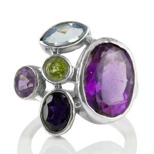 Сребърен пръстен с аметист, син топаз, перидот и иолит
