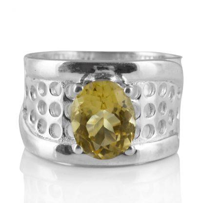 Сребърен пръстен с фасетиран цитрин