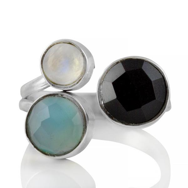 Регулируем сребърен пръстен с черен оникс, лунен камък и халцедон