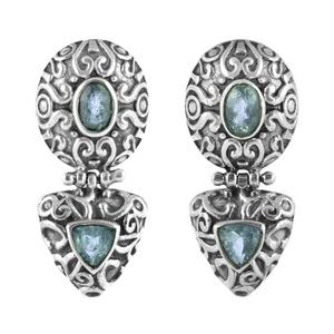 Орнаментирани сребърни обеци със син топаз на винт