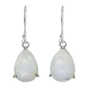 Нежни сребърни обеци с капковиден лунен камък