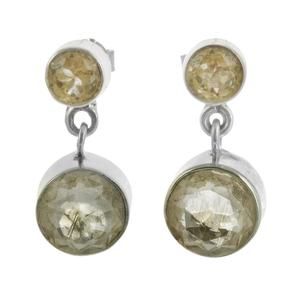Сребърни обеци с фасетиран рутилов кварц и цитрин