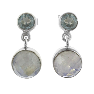 Сребърни обеци с фасетиран лунен камък и син топаз