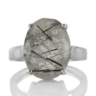 Изчистен сребърен пръстен с турмалинов кварц (Стрелите на Амур)