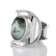 Регулируем сребърен пръстен с дендро опал