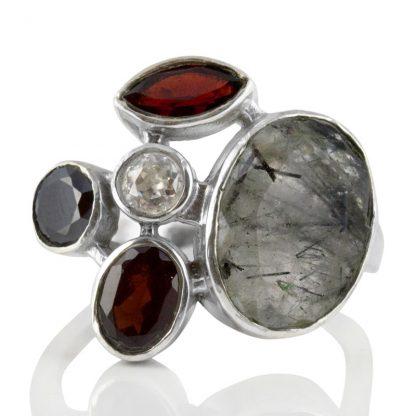 Сребърен пръстен с турмалинов кварц, гранат, оникс и планински кристал