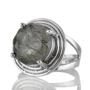 Сребърен пръстен с едър турмалинов кварц (Стрелите на Амур)