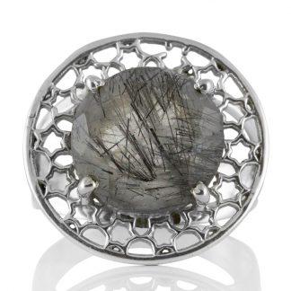 Пръстен с фасетиран турмалинов кварц в сребърен обков