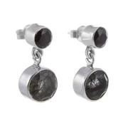 Сребърни обеци с фасетиран турмалинов кварц и черен оникс