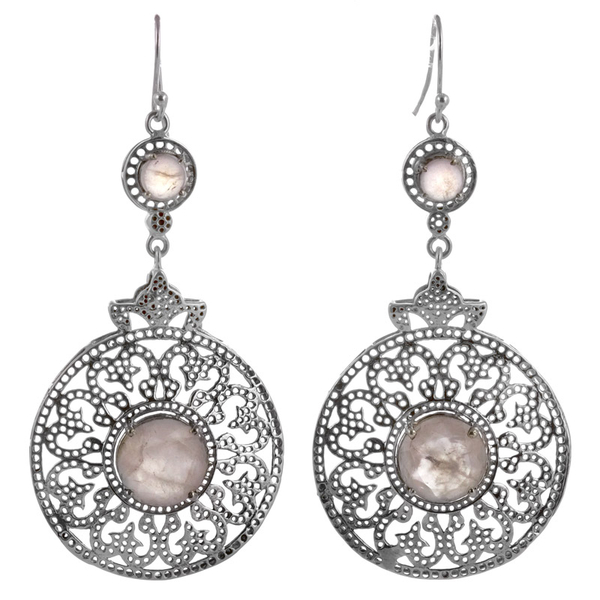Големи сребърни обеци с розов кварц