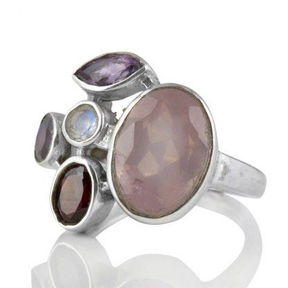 Сребърен пръстен с розов кварц, гранати, аметист и лунен камък