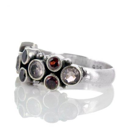 Сребърен пръстен с гранат и розов кварц