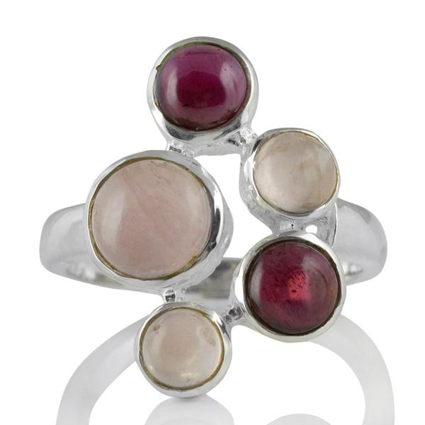 Сребърен пръстен с кабошони гранат и розов кварц