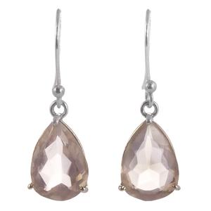 Нежни сребърни обеци с капковиден розов кварц