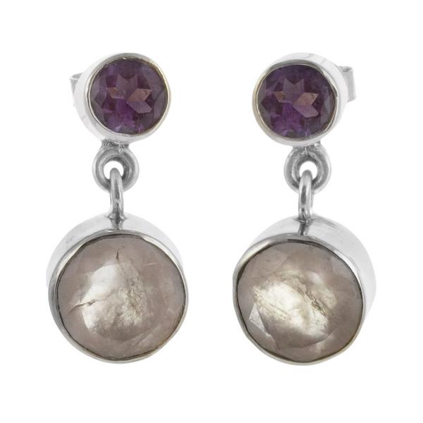 Сребърни обеци с розов кварц и аметист на винт