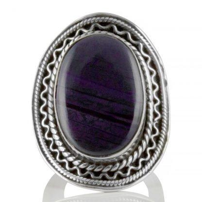 Голям сребърен пръстен със сугилит