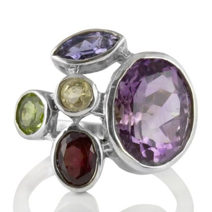 Сребърен пръстен с аметист, цитрин, перидот, иолит и гранат