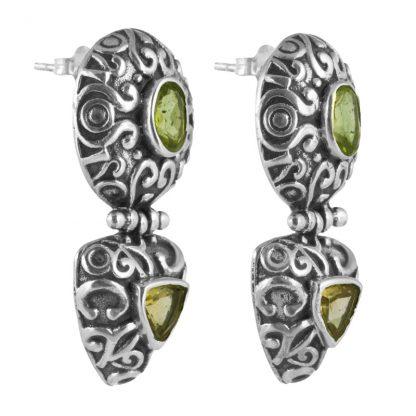 Орнаментирани сребърни обеци с перидот и цитрин