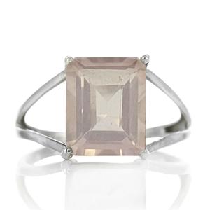 Изчистен сребърен пръстен с правоъгълен розов кварц