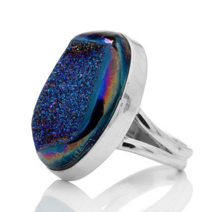 Сребърен пръстен с ахатова друза с титаниево покритие