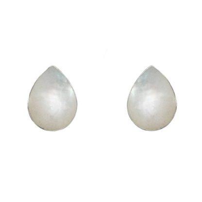 Капковидни сребърни обеци със седеф на винт