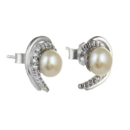 Сребърни обеци със сладководна перла и циркони на винт