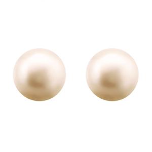 Изчистени сребърни обеци с розова сладководна перла - 0.9 см.