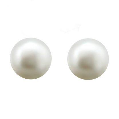Изчистени сребърни обеци с бяла сладководна перла - 0.9 см.