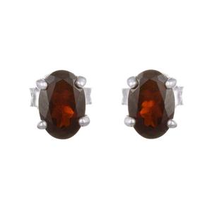 Малки сребърни обеци с гранат на винт