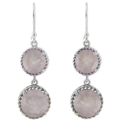 Сребърни обеци с фасетиран розов кварц