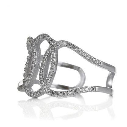 Регулируем сребърен пръстен с циркони