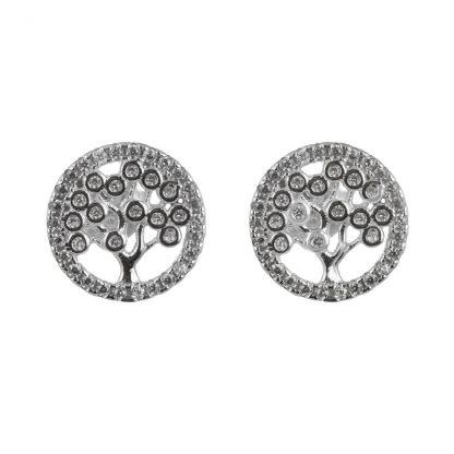 Сребърни обеци с циркони - Дървото на живота