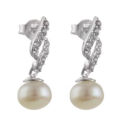 Сребърни обеци със сладководна перла и циркони