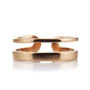 Регулируем сребърен пръстен с розово злато Simply
