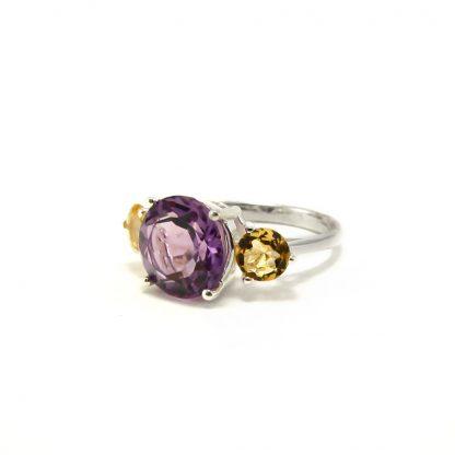 Сребърен пръстен с аметист и цитрин