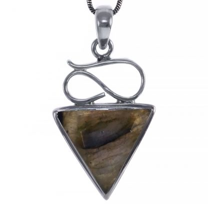 Сребърен комплект обеци и медальон с фасетиран лабрадорит
