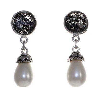 Сребърни обеци с фасетиран турмалинов кварц и перла