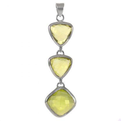 Масивен сребърен медальон с фасетиран лимонов кварц