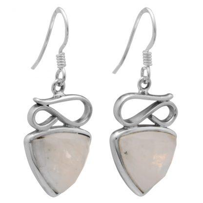 Сребърен комплект с фасетиран лунен камък