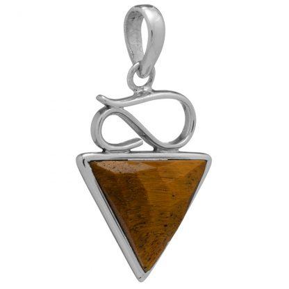 Сребърен комплект обеци и медальон с фасетирано тигрово око