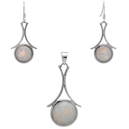 Едър сребърен комплект с лунен камък