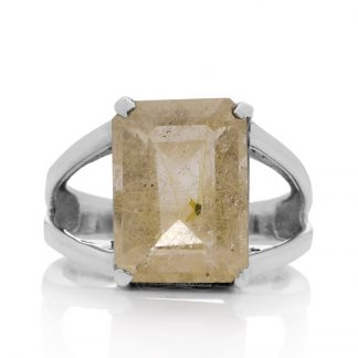 Сребърен пръстен с фасетиран рутилов кварц